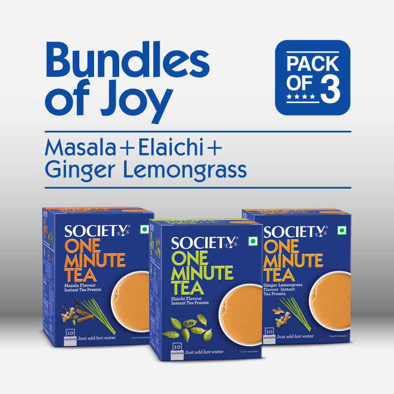 Society One Minute Masala Premix + Society One Minute Elaichi Instant Tea Premix + Society One Minute Ginger Lemongrass Instant Tea Premix