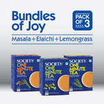 Society One Minute Masala Premix Instant Tea Premix+ Society One Minute Elaichi Instant Tea Premix + Society One Minute Lemongrass Instant Tea Premix