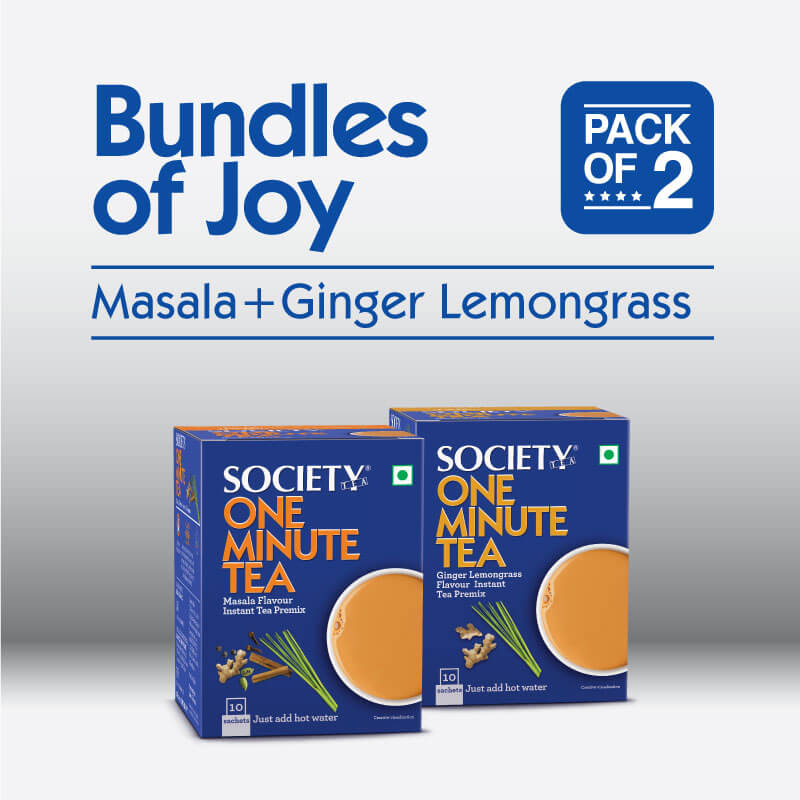 Society One Minute Masala Premix + Society One Minute Ginger Lemongrass Instant Tea Premix