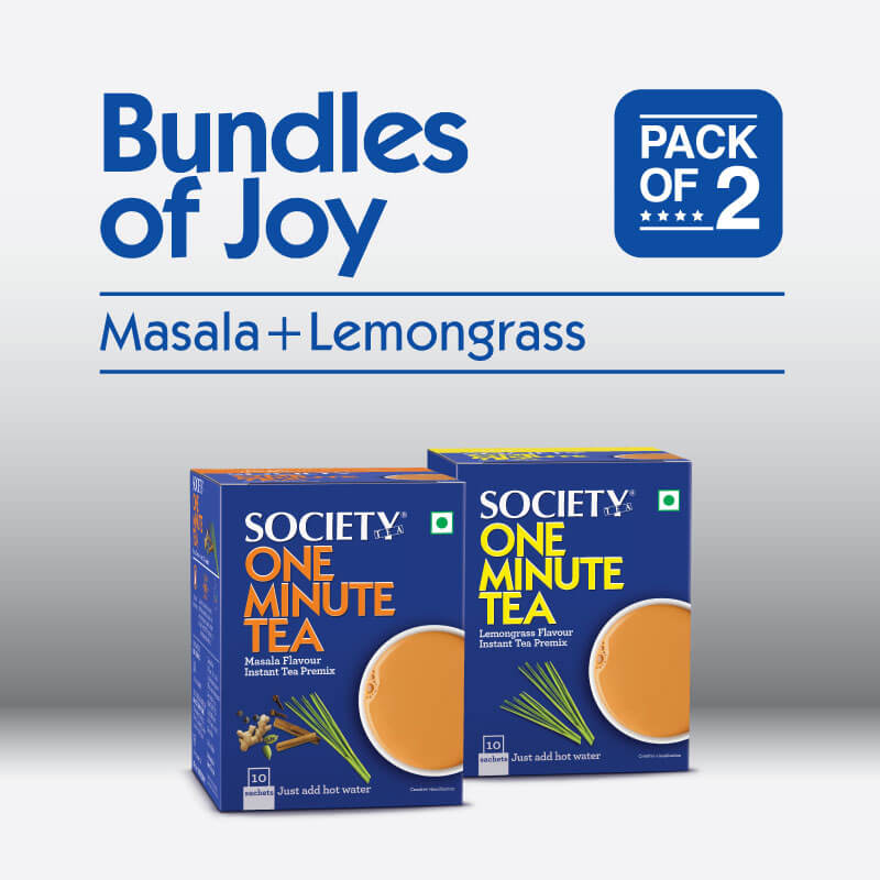 Society One Minute Masala Premix + Society One Minute Lemongrass Instant Tea Premix