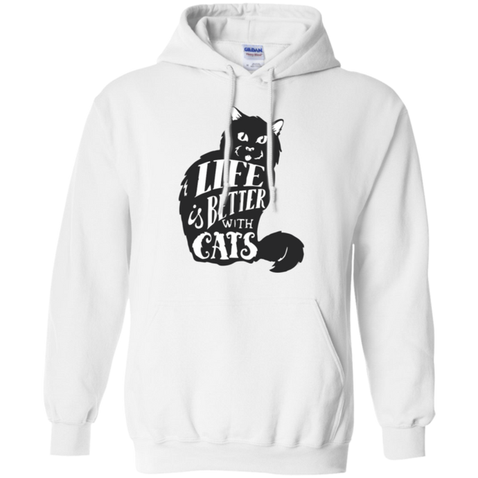 LIFE IS BETTER WITH CATS MEN'S PULLOVER HOODIE