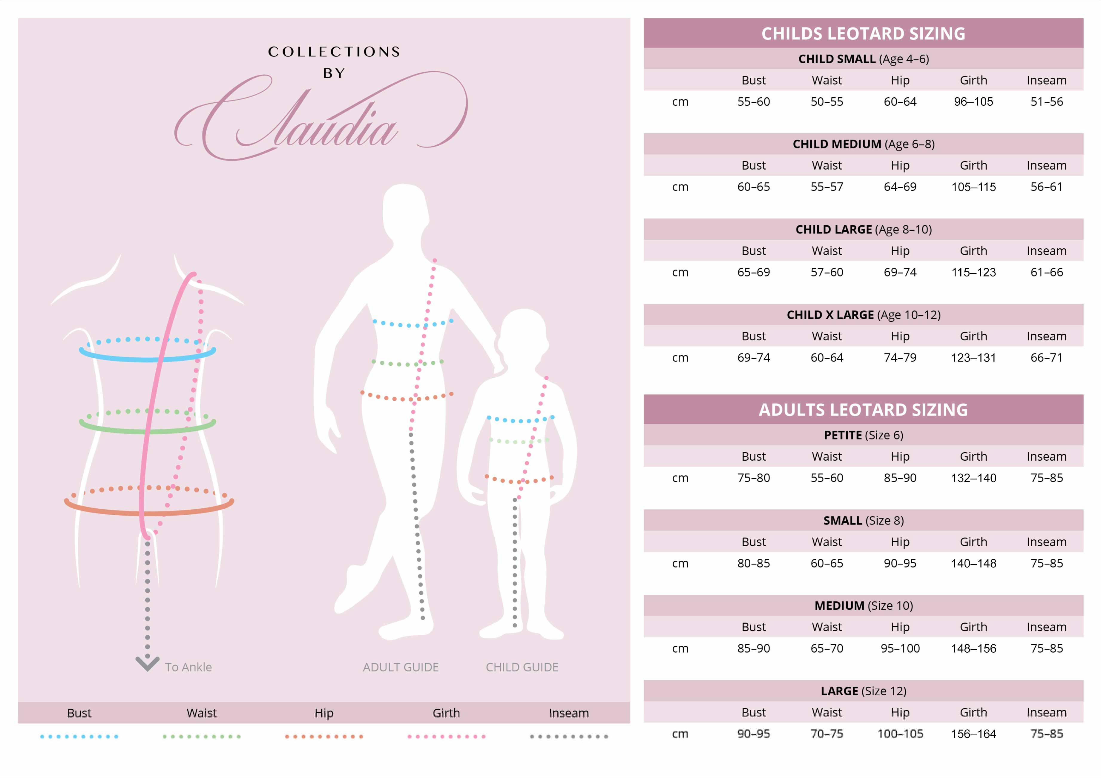 Collections by Claudia Sizing Chart