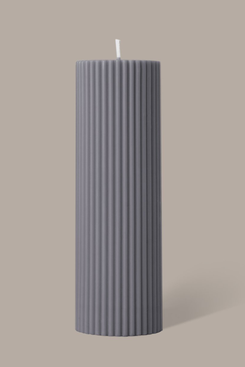 Wide column pillar candle - Grey