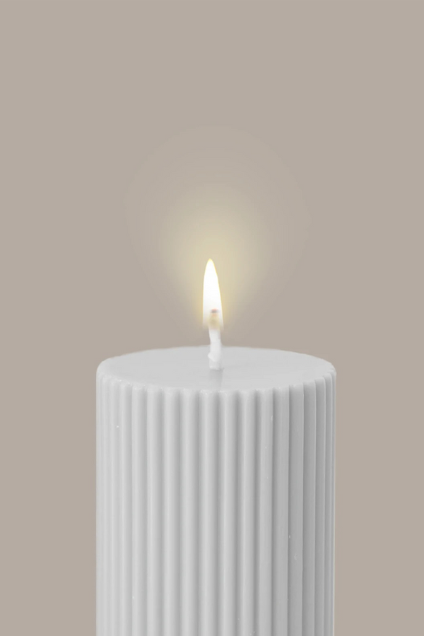 Wide column pillar candle - White