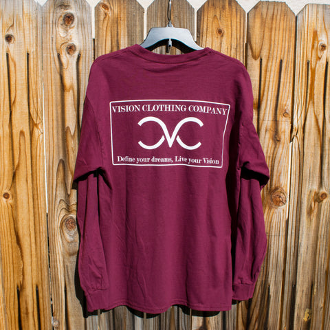 vision clothing company maroon long sleeve tee