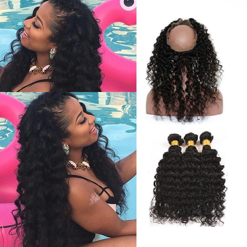 [Abyhair 9A] 360 lace Frontal Closure With 3 Bundles Malaysian Deep Wave Hair Weave