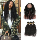 [Abyhair 10A] Brazilian Deep Wave 3 Bundles With 360 lace Frontal Closure Virgin Human Hair