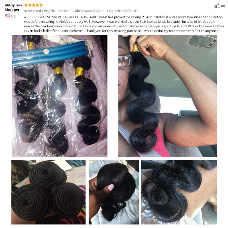 [Abyhair 10A] Indian Body Wave Hair 4 Bundles 100% Human Hair Weave Extensions