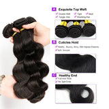 [Abyhair 9A] Body Wave 3 Bundles With 4x4 Lace Closure Indian Human Hair