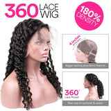 Deep Wave 360 Lace Frontal Human Hair Wig 180% Density Pre Plucked With Baby Hair