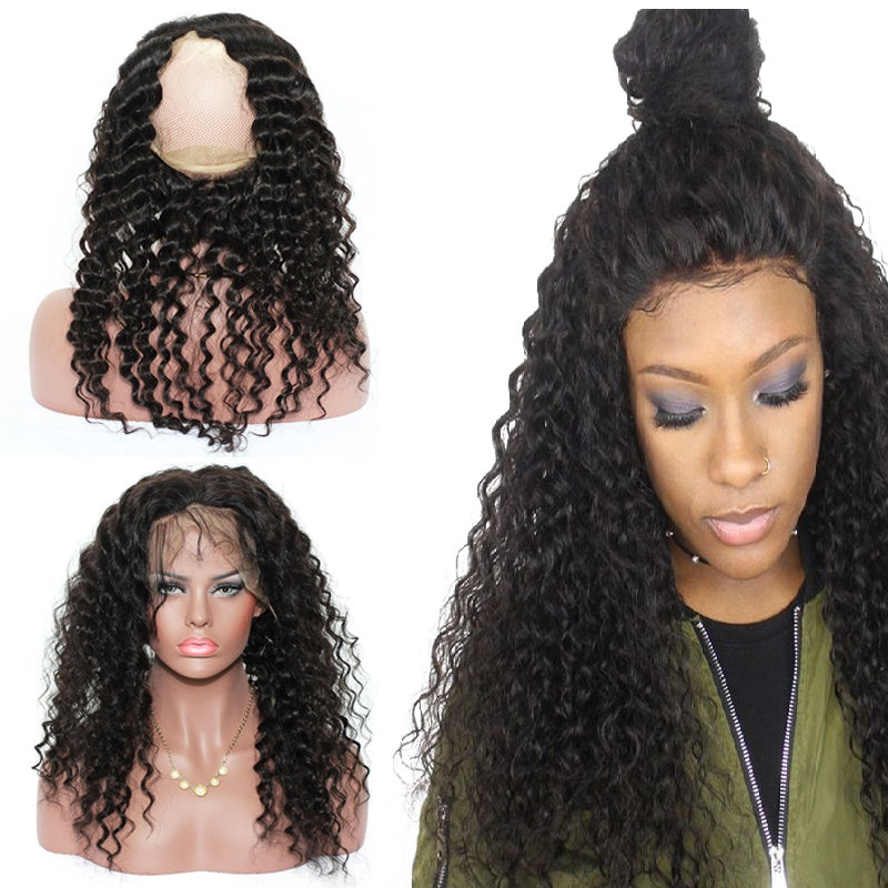9A Virgin Deep Wave 360 Lace Frontal Closure Bleached Knots 130% Density