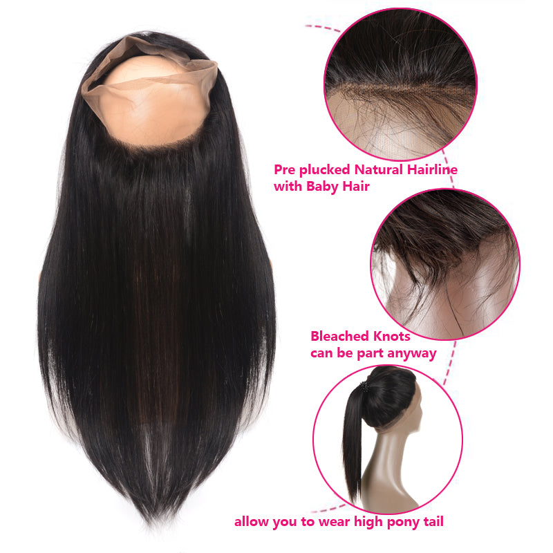 [Abyhair 8A] Straight 360 Lace Frontal With 3 Bundles Natural Hairline Indian Remy Hair Weave