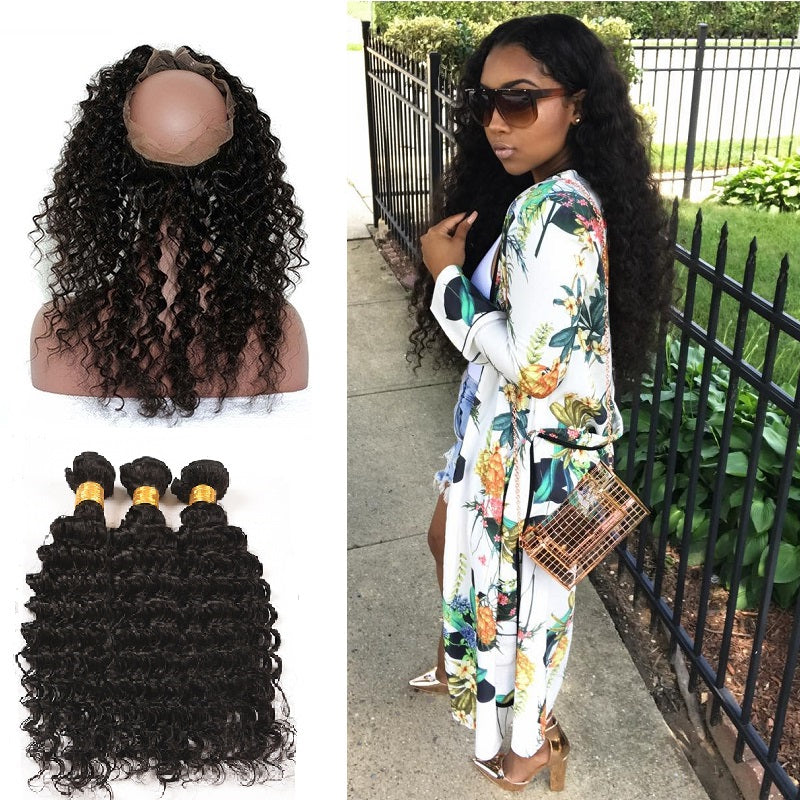 [Abyhair 9A] 360 lace Frontal Closure With 3 Bundles Peruvian Deep Wave Hair Weave