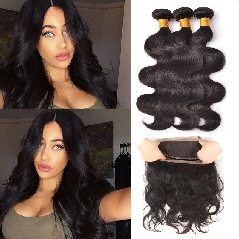 [Abyhair 9A] 360 lace Frontal Closure With 3 Bundles Malaysian Body Wave Hair Weave