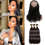 [Abyhair 9A] 360 lace Frontal Closure With 3 Bundles Malaysian Straight Hair Weave