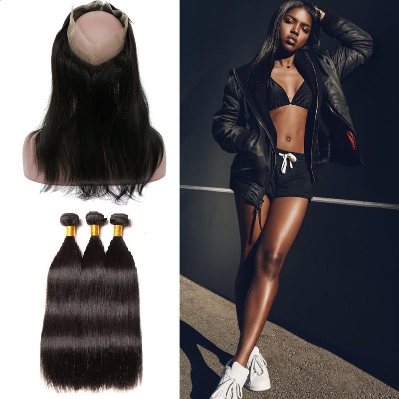 9a Peruvian 360 Lace Frontal Closure With 3 Bundles Straight Hair