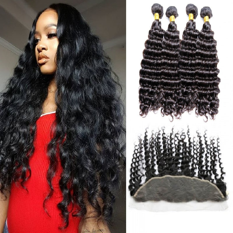 [Abyhair 10A] Malaysian Deep Wave 4 Bundles With 13x 4 Lace Frontal Closure With Baby Hair