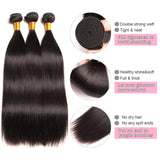 [Abyhair 8A] Straight 3 Bundles With Lace Frontal 13x4 Closure Malaysian Remy Hair