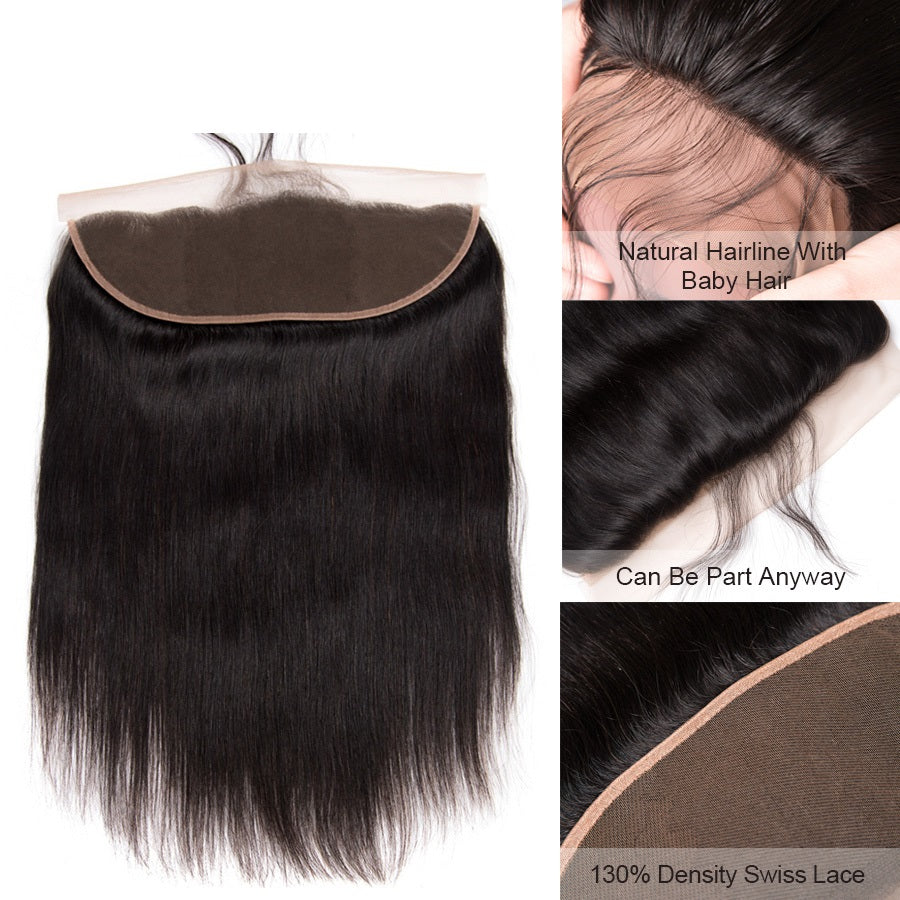 [Abyhair 10A] Malaysian Straight 4 Bundles With 13x 4 Lace Frontal Closure With Baby Hair