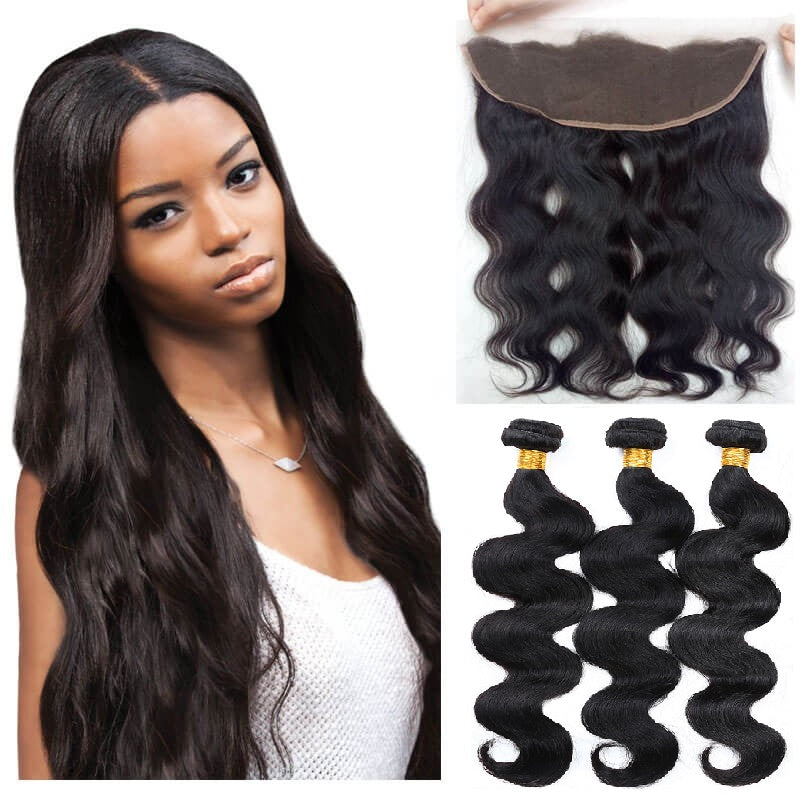 [Abyhair 10A] Peruvian Body Wave 3 Bundles With 13x 4 Lace Frontal Closure With Baby Hair