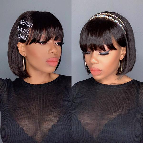 Short Cut Bob Wig With Bangs 13x4 Lace Frontal Brazilian Human Hair Wigs