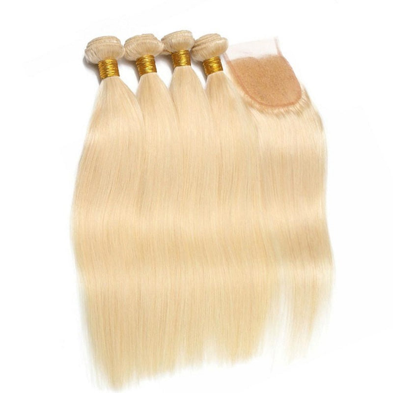 "10A Virgin 613 Blonde Brazilian Straight 4 Bundles With Closure 4""x4"" Free Part Closure"