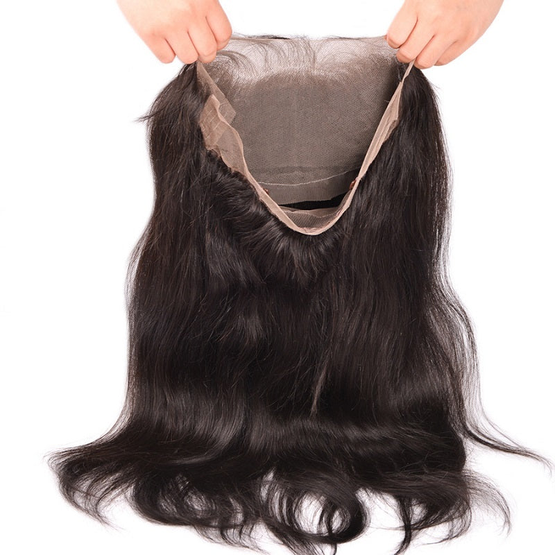 [Abyhair 10A] Peruvian Straight Hair 2 Bundles With 360 lace Frontal Closure Virgin Human Hair