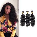 [Abyhair 9A] 3 Bundles Peruvian Deep Wave Hair Weft Human Hair Weave