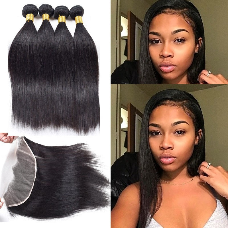 [Abyhair 10A] Indian Straight 4 Bundles With 13x 4 Lace Frontal Closure With Baby Hair