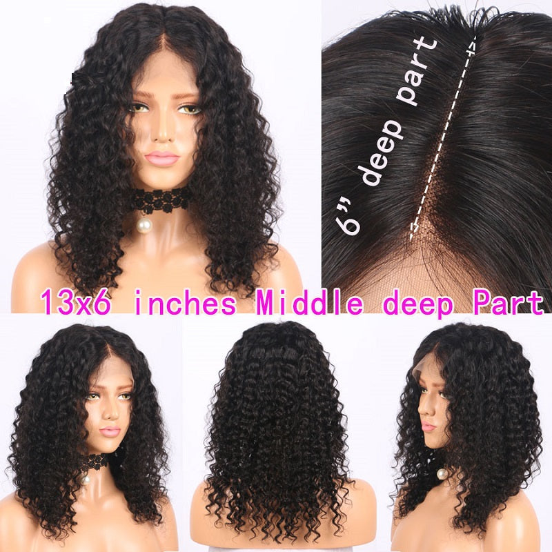 13x6 Short Bob Curly Lace Front Human Hair Wig Pre Plucked With Baby Hair For Women
