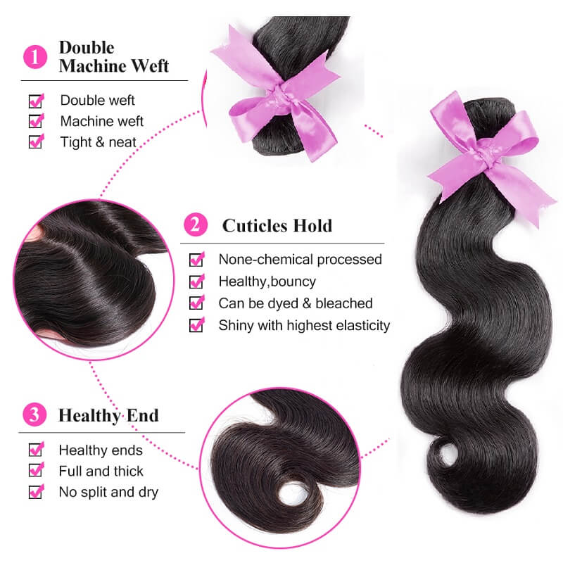 [Abyhair 10A] Body Wave Human Hair 1 Bundle Unprocessed Virgin Hair Weave 105g