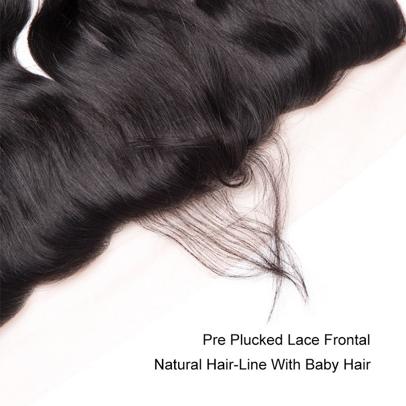 8A Remy Loose Wave 13x4 Lace Frontal Closure Pre Plucked With Baby Hair