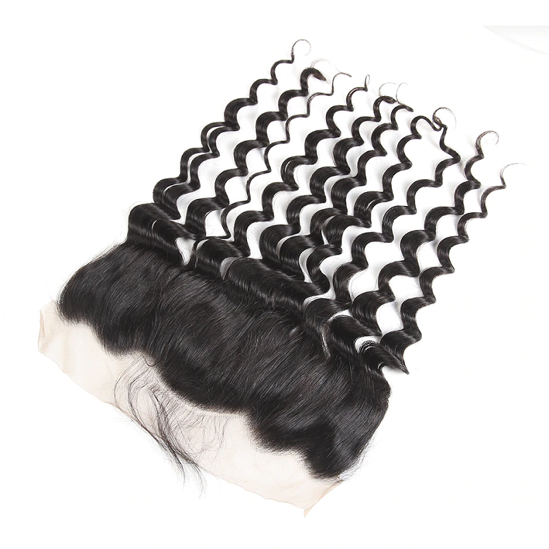 8A Remy Loose Deep Wave 13x4 Ear To Ear Lace Frontal Closure Free Part With Baby Hair