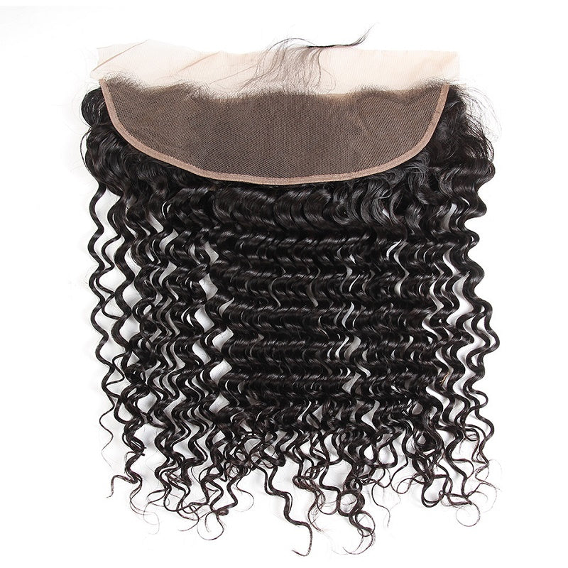 8A Remy Deep Wave 13x4 Ear To Ear Lace Frontal Closure Free Part With Baby Hair