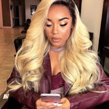 [Abyhair 10A] Ombre 1B/613 Brazilian Body Wave 3 Bundles With 13x4 Lace Frontal Closure