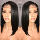 Short Bob Straight 370 Lace Frontal Wig Pre Plucked Hairline With Baby Hair