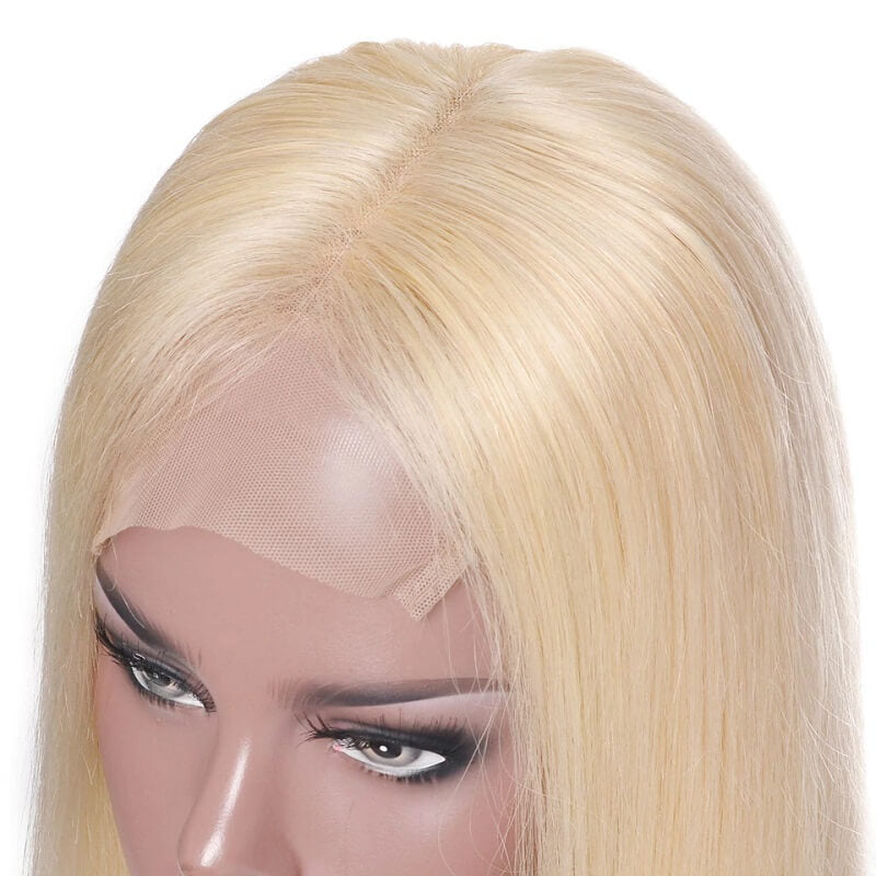 613 Blonde Short Bob Straight 4x4 Lace Front Human Hair Wigs Pre Plucked With Baby Hair