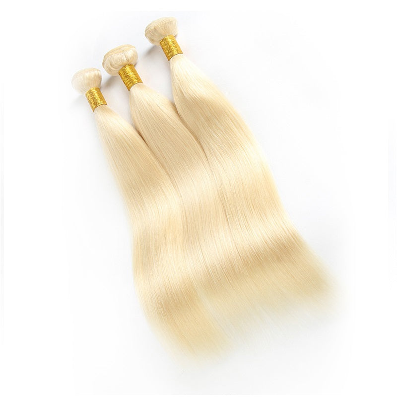10A Virgin 613 Blonde Brazilian Straight Hair 3 Bundles Human Hair Weave