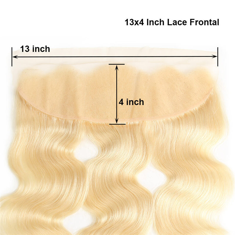 10A Virgin 613 Blonde Brazilian Body Wave 4 Bundles With 13x4 Lace Frontal Free Part Closure