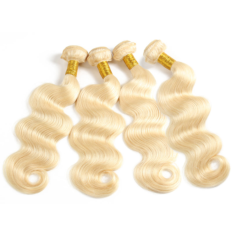 10A Virgin 613 Blonde Brazilian Body Wave 4 Bundles With Closure 4x4 Free Part Closure