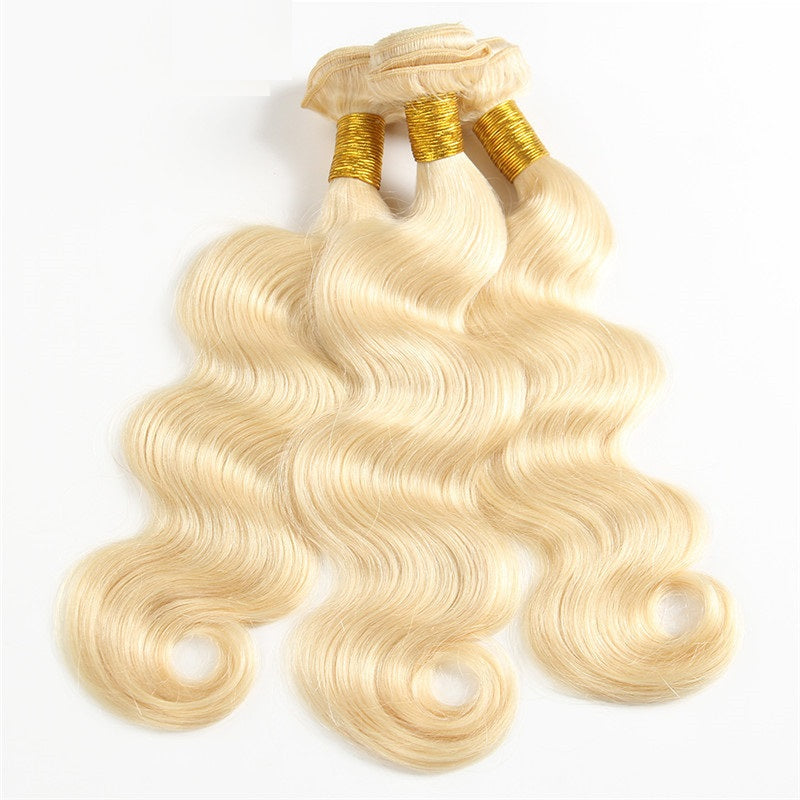 10A Virgin 613 Blonde Brazilian Body Wave 3 Bundles With Closure 4x4 Free Part Closure