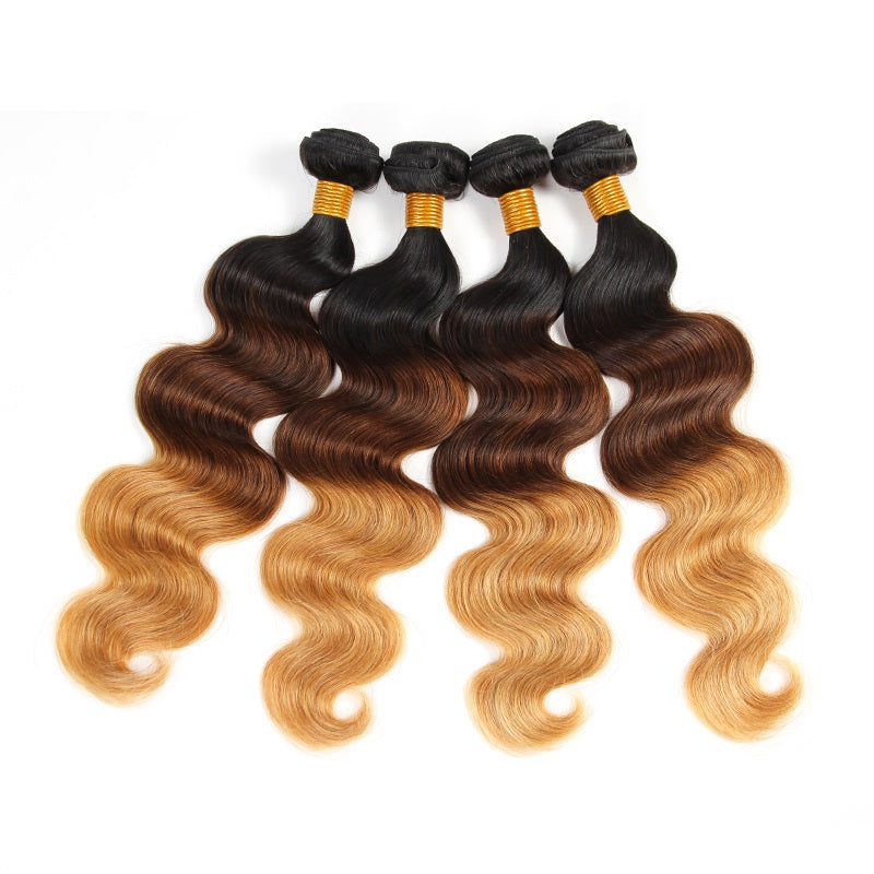 [Abyhair 10A] Ombre 1B/4/27 Body Wave Brazilian 4 Bundles Virgin Human Hair Weave