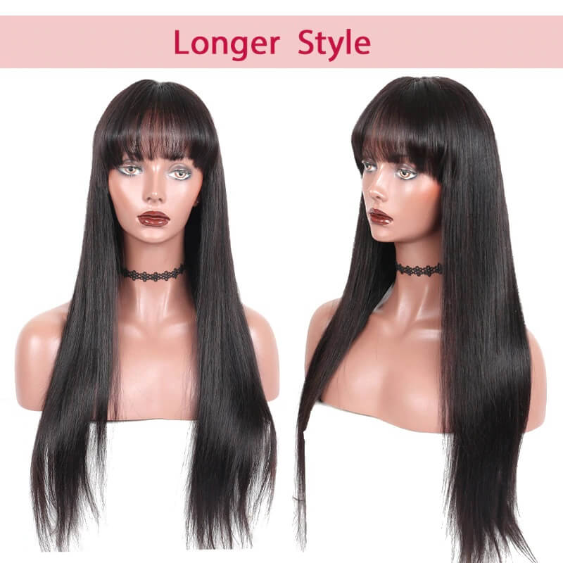 13x6 Lace Front Ponytail Wig With Bangs Silky Straight Pre Plucked Human Hair Wigs