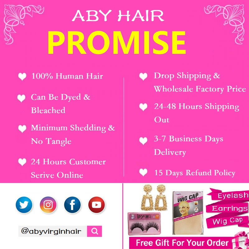 [Abyhair 10A] Water Wave 4x4 Lace Closure Swiss Lace Virgin Human Hair Weave