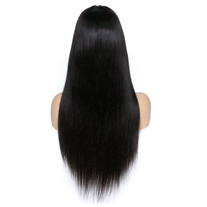 Silky Straight Glueless Full Lace Wig with Bangs Pre Plucked Human Hair Wigs