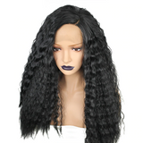 Brazilian Full Black Long Yaki Straight Synthetic Lace Front Wig