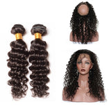[Abyhair 10A] Brazilian Deep Wave 2 Bundles With 360 lace Frontal Closure Virgin Human Hair