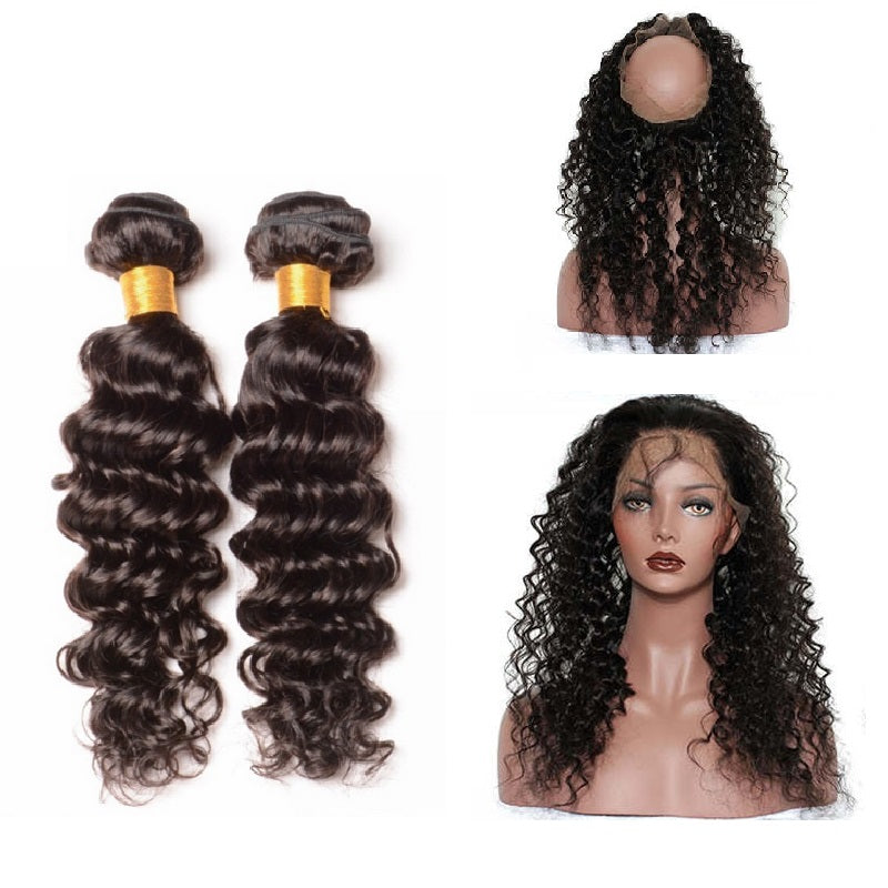 [Abyhair 9A] 360 lace Frontal Closure With 2 Bundles Malaysian Deep Wave Hair Weave