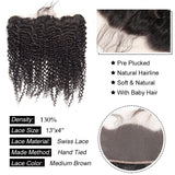 8A Remy Kinky Curly 13x4 Ear To Ear Lace Frontal Closure Free Part With Baby Hair