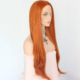 Orange Color Natural Wave Synthetic Lace Front Daily Wigs For Women
